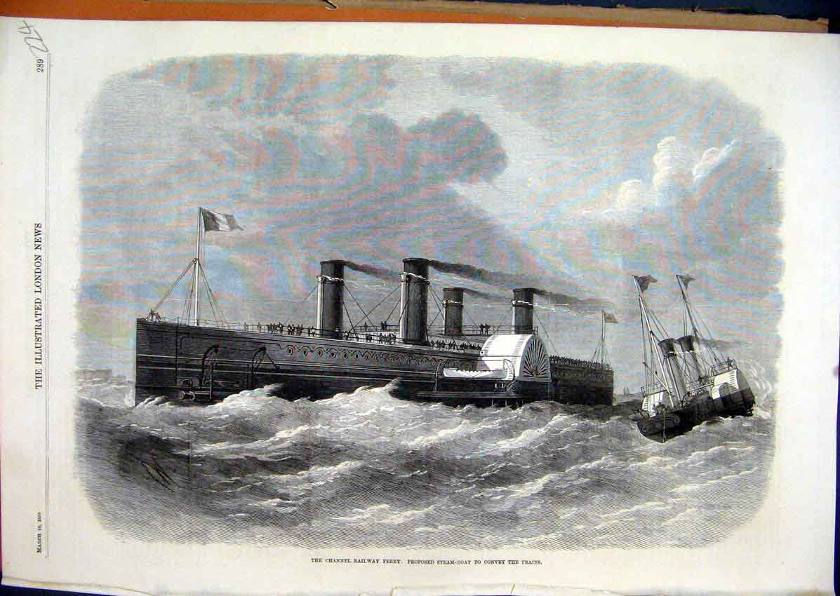 Print 1870 Channel Railway Ferry Steam-Boat Convey Trains 24Mar1 Old Original