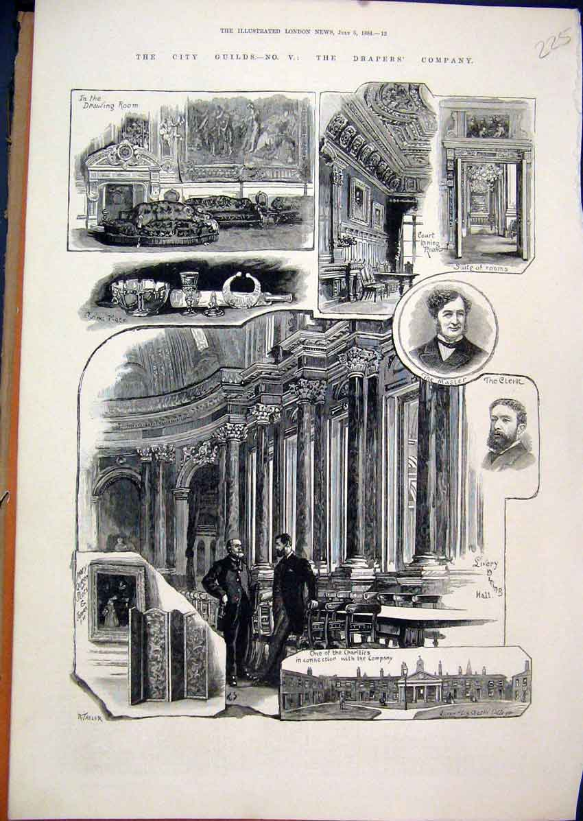 Print 1884 City Guilds Drapers Company Drawing Room Clerk 25Mar1 Old Original