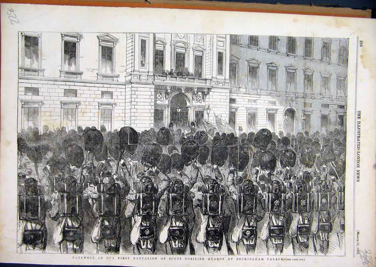 Print 1854 Battalion Scots Fusilier Guards Buckingham Palace 28Mar1 Old Original