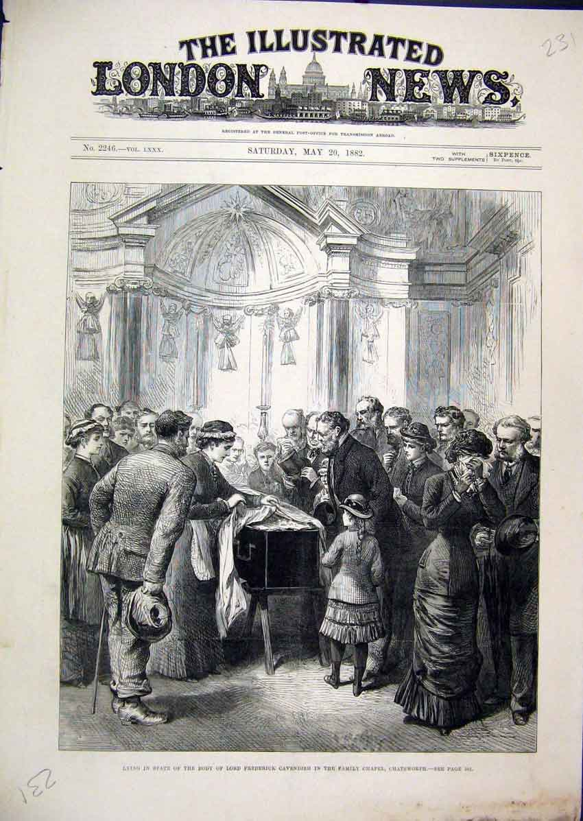 Print Lying State Lord Frederick Cavendish 1882 Chapel Family 31Mar1 Old Original
