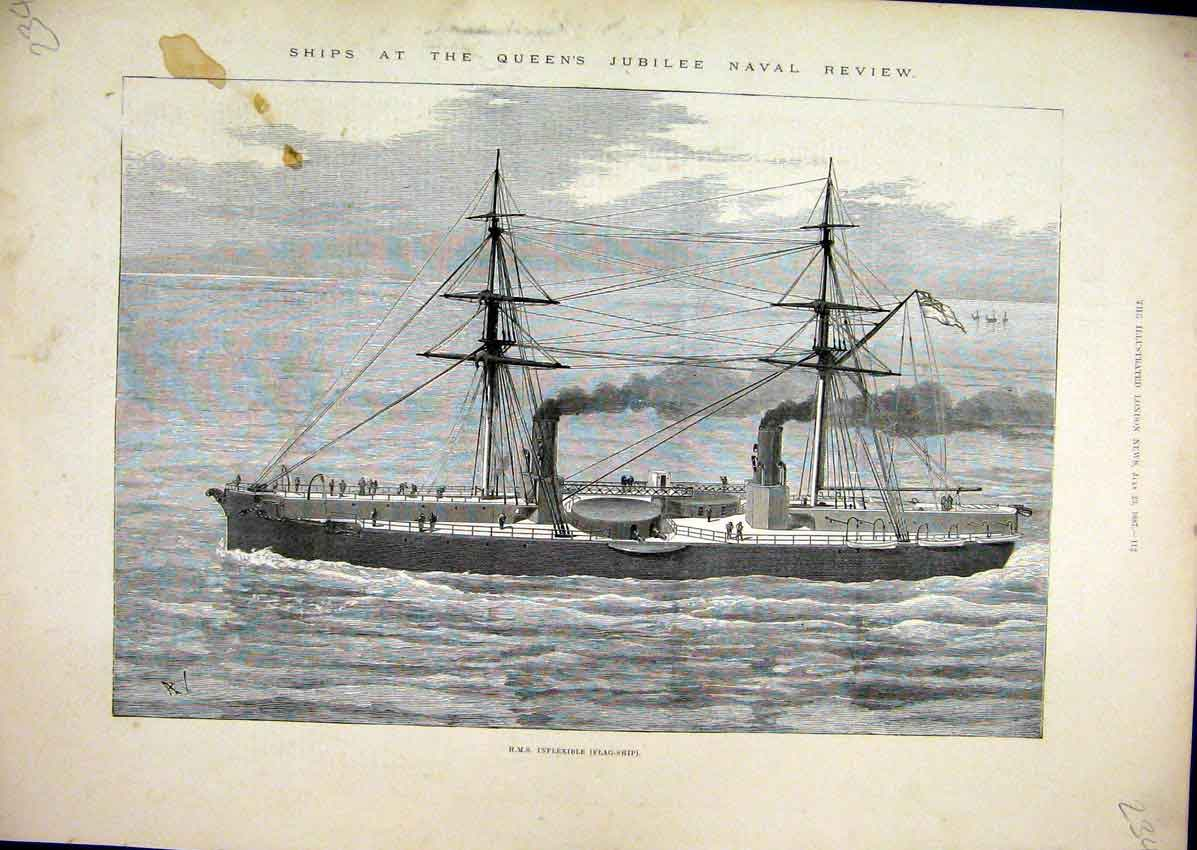 Print 1877 Ship Queens Jubilee Naval Review Inflexible Flag 34Mar1 Old Original