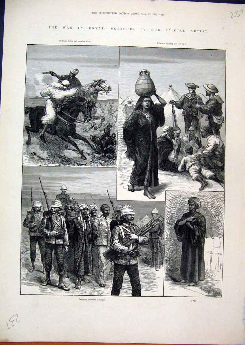 Print 1882 War Egypt Bedouins Prisoners Camp Spy Horses 37Mar1 Old Original