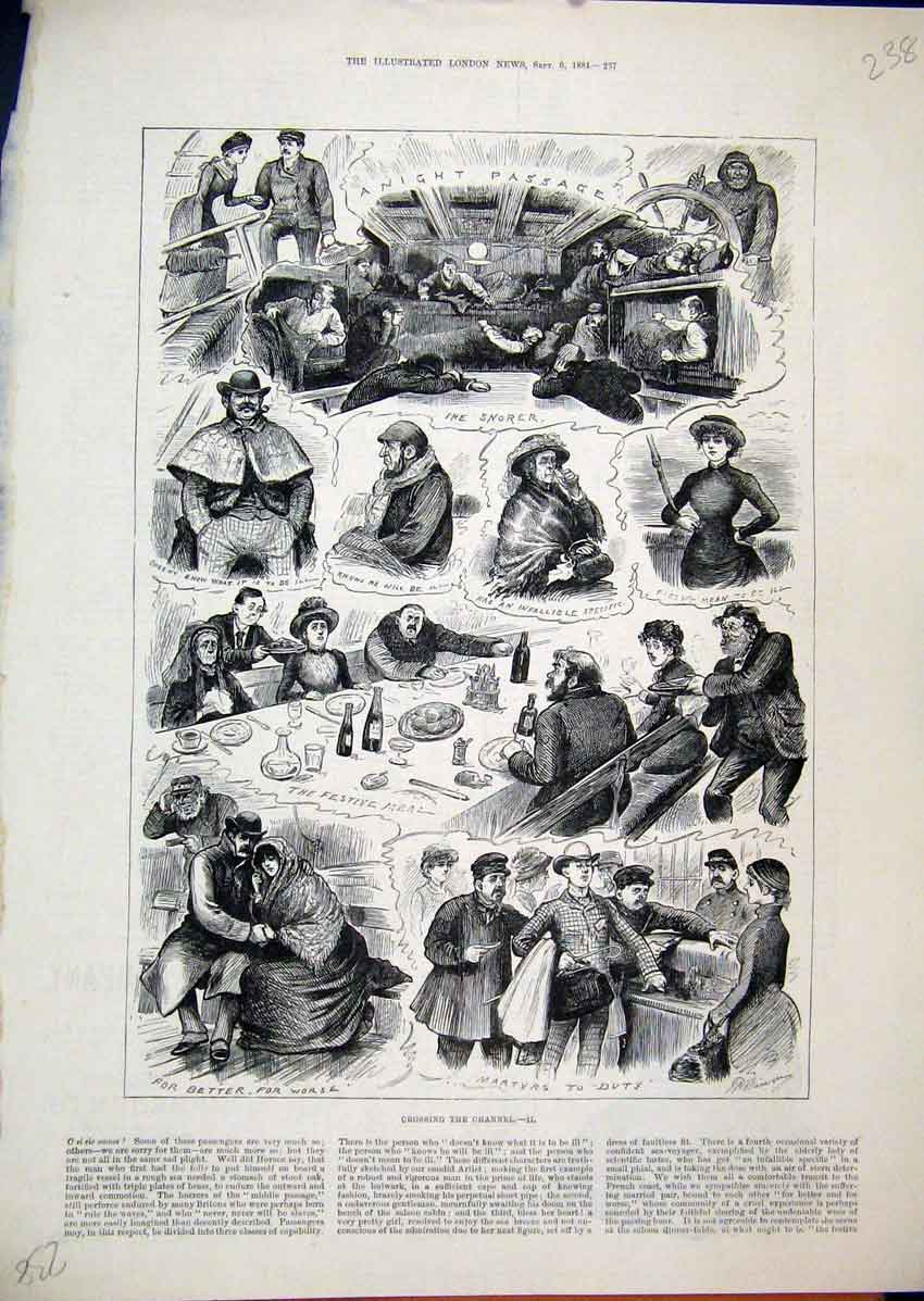 Print 1884 Crossing Channel Festive Meal Sleeping Drinking 38Mar1 Old Original