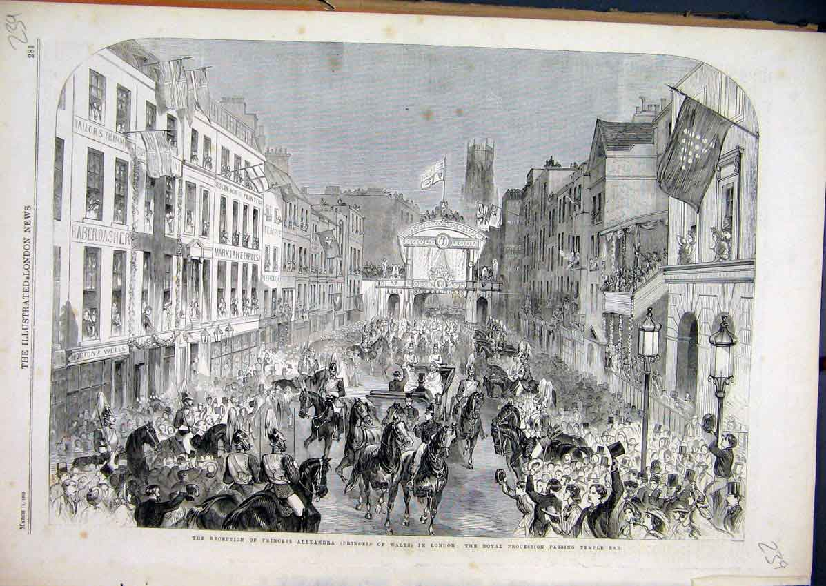 Print 1863 Reception Princess Alexandra London Procession 39Mar1 Old Original