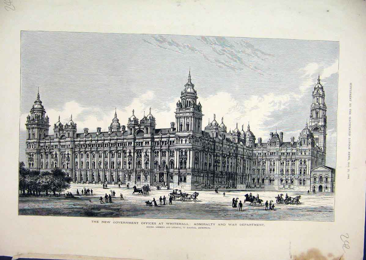 Print 1884 Government Offices Whitehall War Department 42Mar1 Old Original