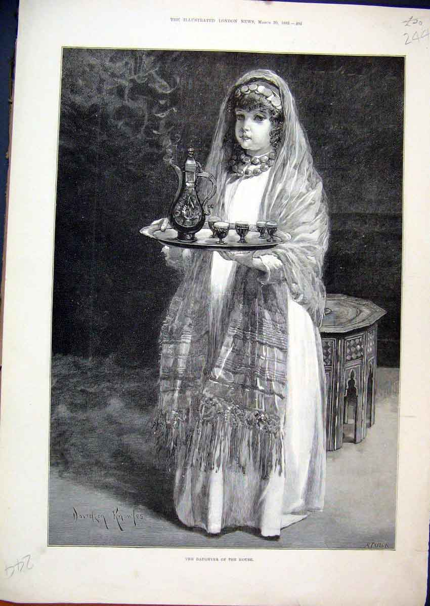Print 1889 Daughter House Serving Tea Beautiful Dress Art 44Mar1 Old Original