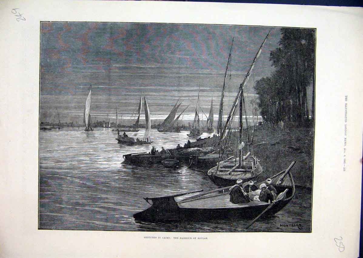Print Sketches Cairo Egypt 1883 Harbour Boulak Boats 50Mar1 Old Original