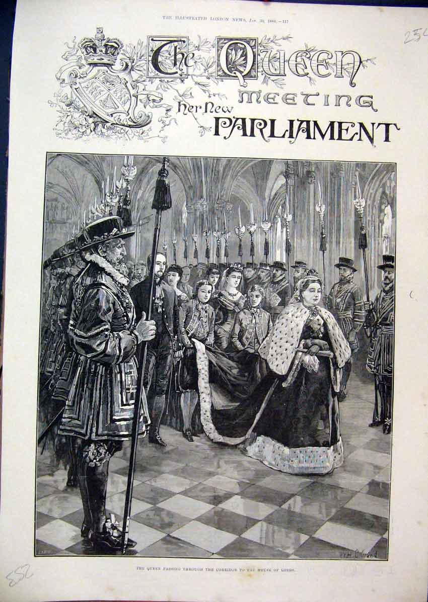 Print 1886 Queen Parlaiment Corridor House Lords Passing 54Mar1 Old Original
