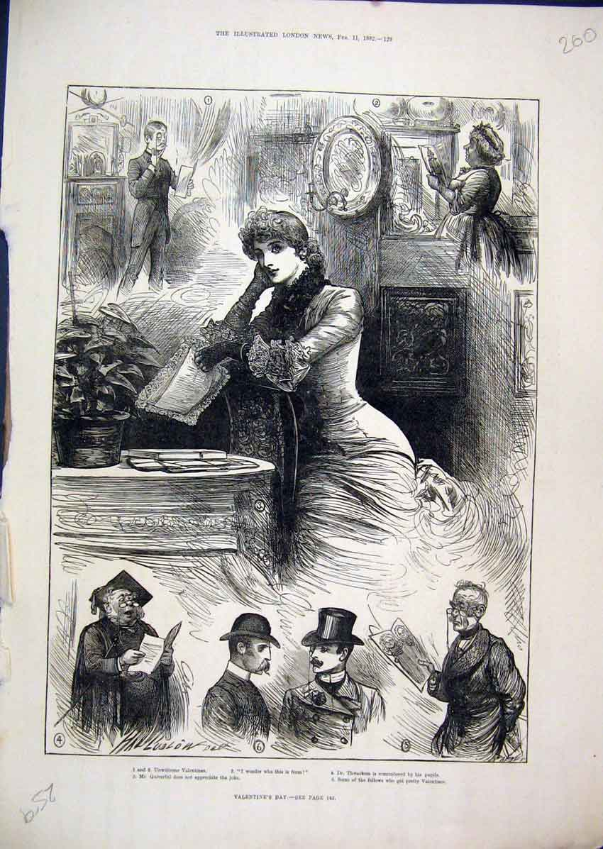 Print 1882 Valentines Day Quiverful Thwackem Romance 60Mar1 Old Original