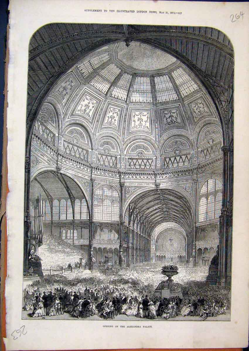 Print 1873 Alexandria Palace Opening Crowds People Interior 64Mar1 Old Original