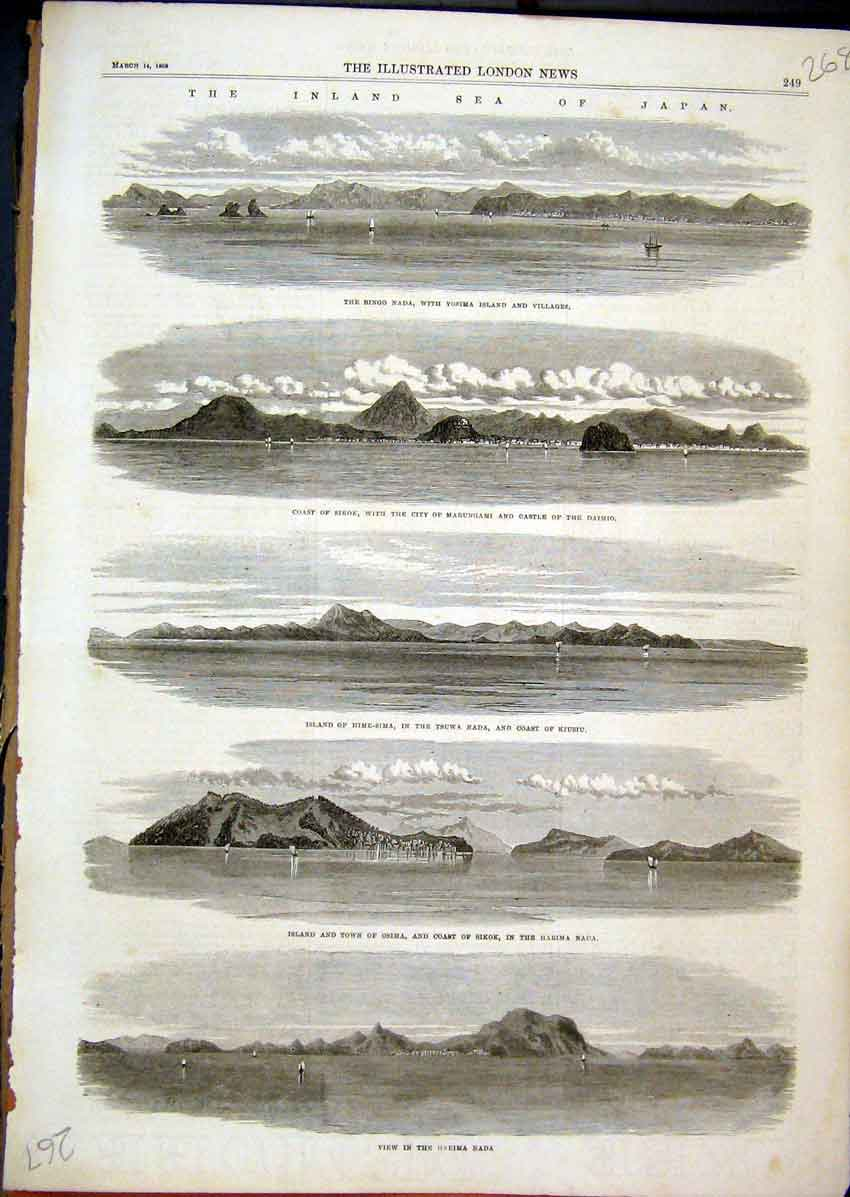 Print 1868 Sea Japan Bingo Nada Coast Sikok Osima Harima Nada 68Mar1 Old Original