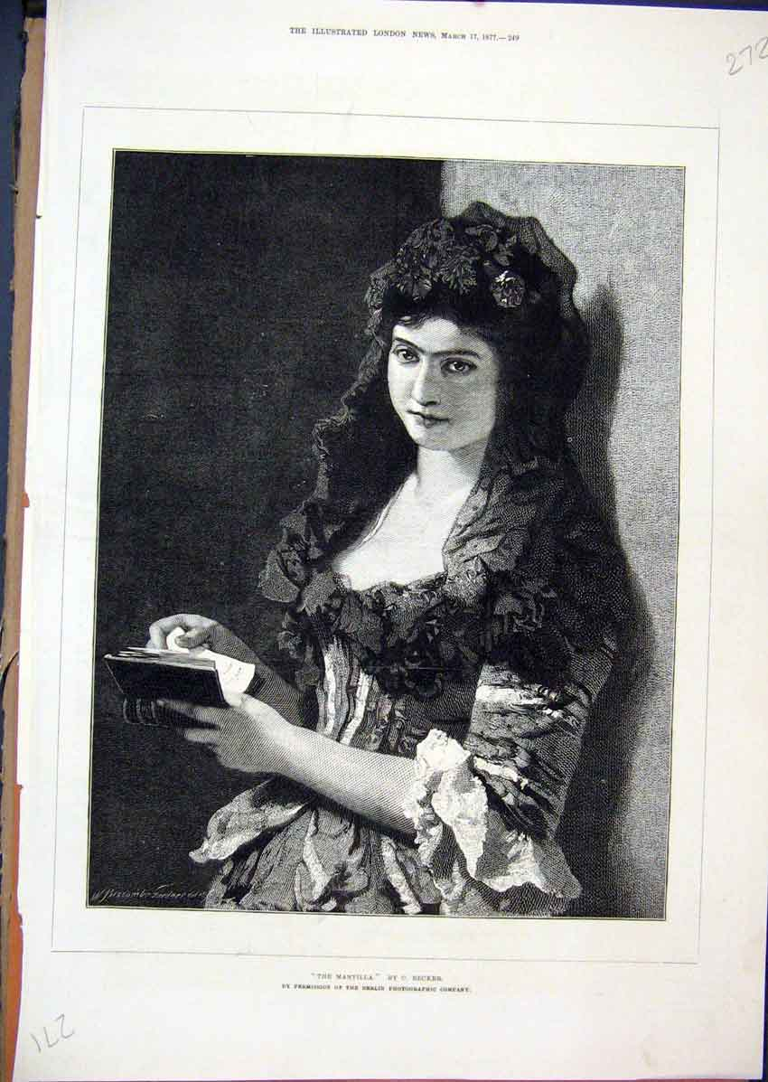Print 1877 Portrait Mantilla Reading Book Beautiful Woman 72Mar1 Old Original