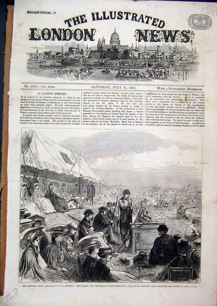 Print National Rifle Meeting 1863 Princess Wales Match Lords 73Mar1 Old Original