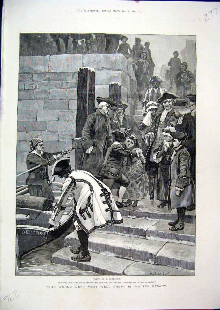 Print Naval Officer Leaving Boat Goodbye Emotions 1886 77Mar1 Old Original
