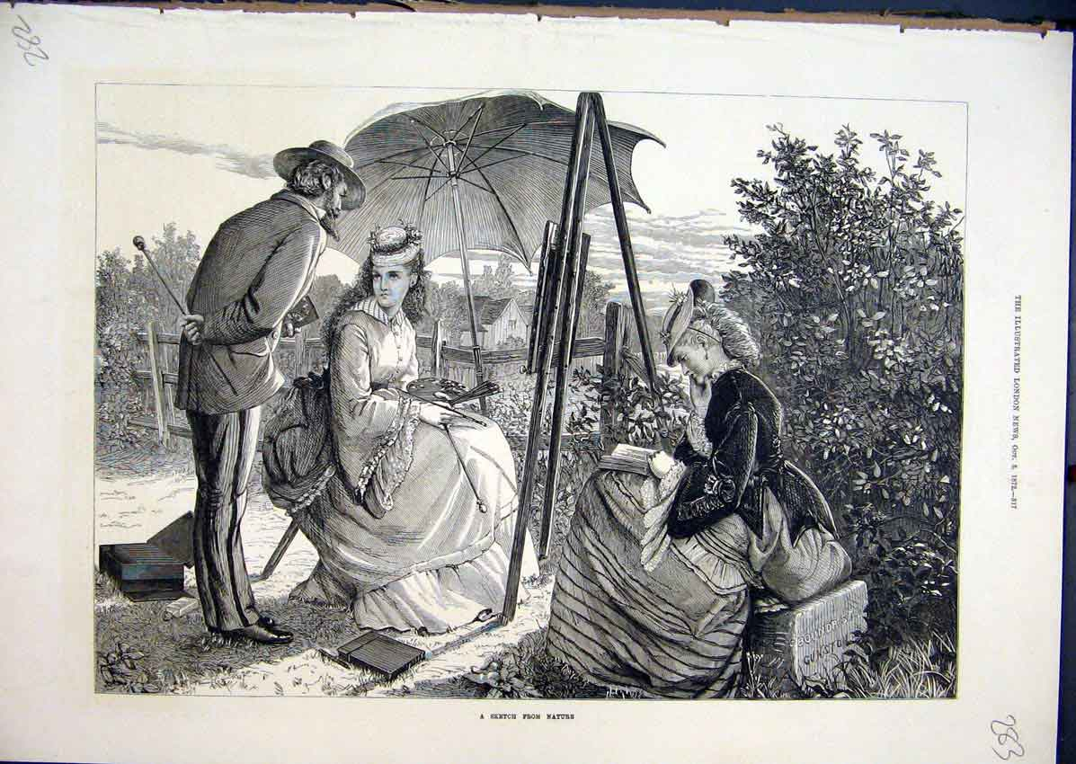 Print 1872 Country Scene Woman Painting Artist Parasol Trees 83Mar1 Old Original