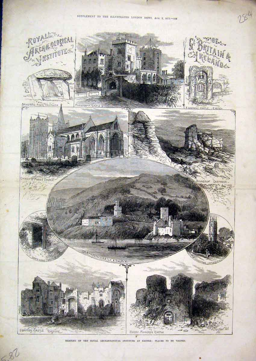 Print Royal Archaeological Exeter 1873 Castle Compton Pomeroy 84Mar1 Old Original