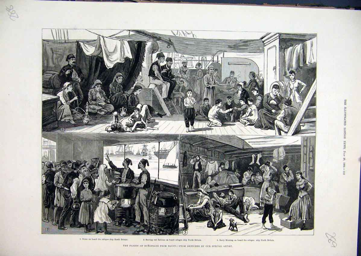 Print Europeans Egypt Refugee Ship 1882 Dinner Time Britain 89Mar1 Old Original