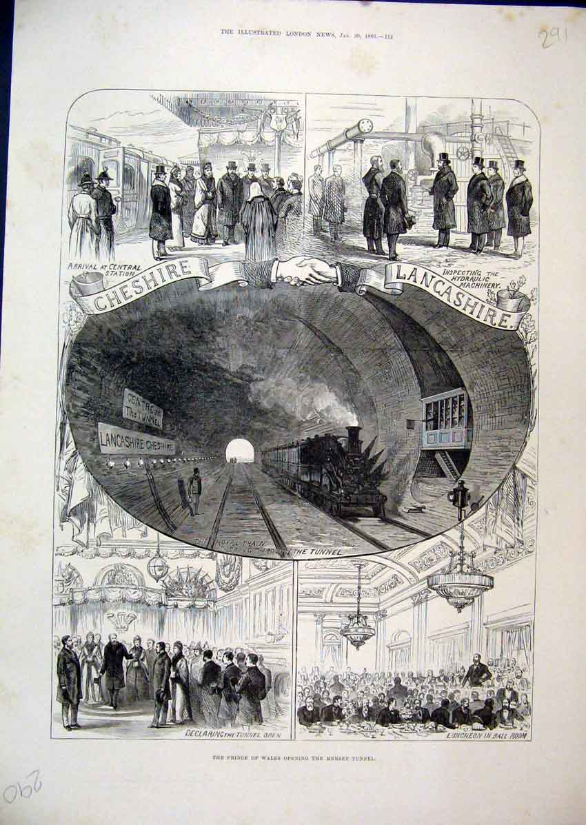 Print Prince Wales Mersey Tunnel 1886 Central Station Lunch 91Mar1 Old Original