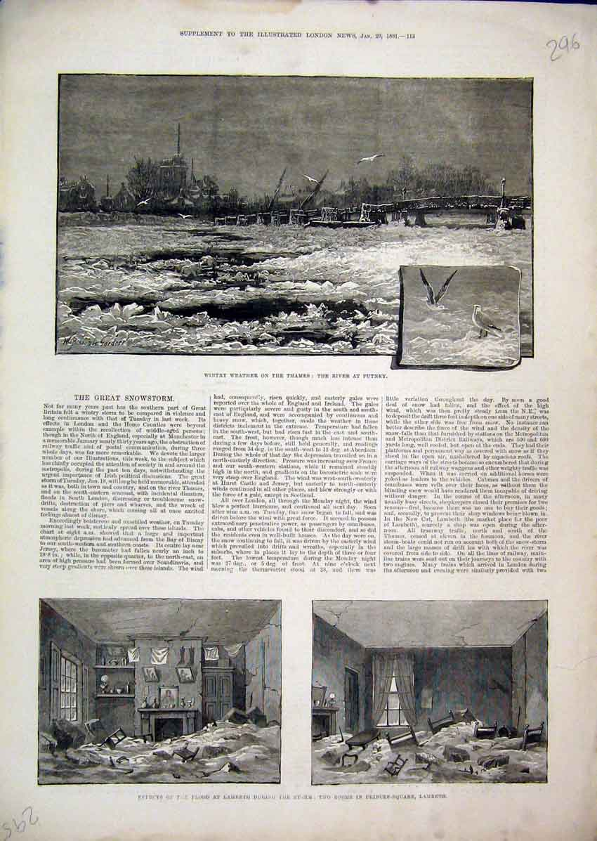 Print Wintry Weather River Thames 1881 Flood Lambeth Storm 96Mar1 Old Original