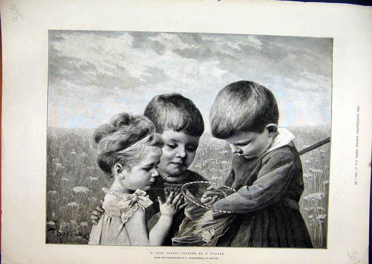 Print 1889 Young Boys Girl Catching Butterflies Country Scene 07Mar1 Old Original