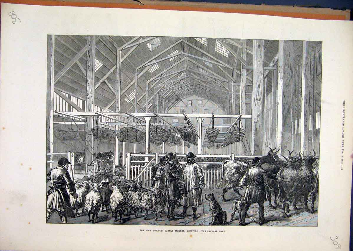 Print 1872 Foreign Cattle Market Deptford Central Shed 09Mar1 Old Original