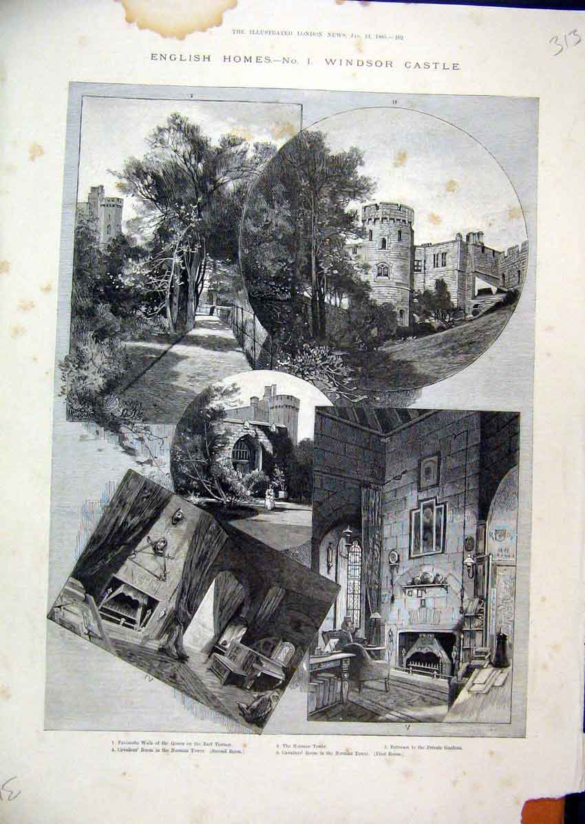Print Englsh Homes Windsor Castle 1885 Norman Tower Cavaliers 13Mar1 Old Original