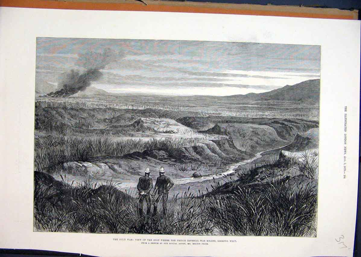 Print 1879 Zulu War Country Scene Prince Imperial Killed 17Mar1 Old Original