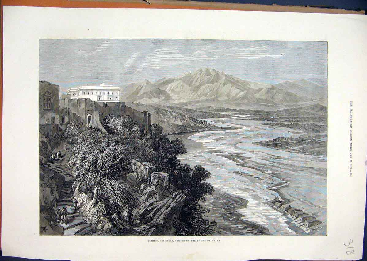 Print 1876 Jummoo Cashmere Prince Wales Building Mountain 18Mar1 Old Original