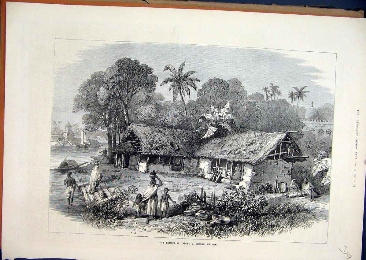 Print 1874 Famine India Bengal Village Woman Children Water 19Mar1 Old Original