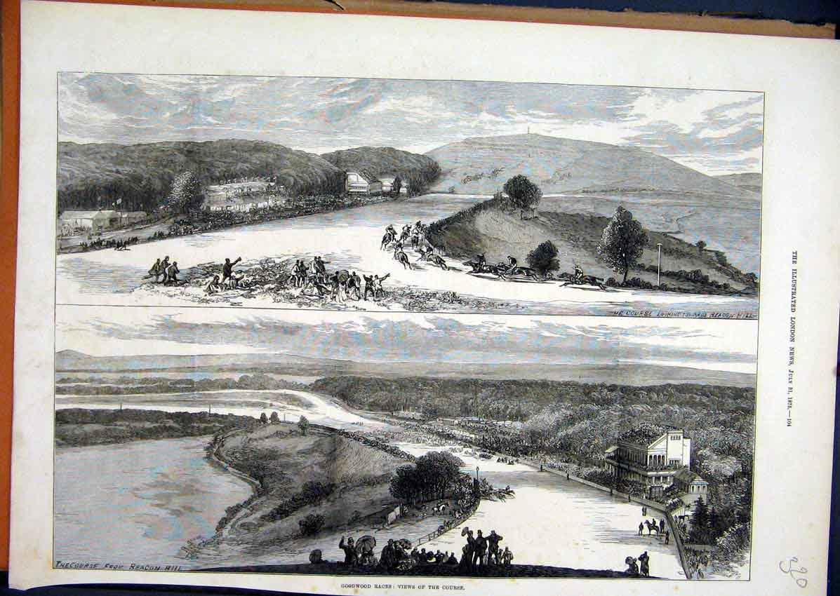 Print 1875 Goodwood Races Views Course Horse Country Scene 20Mar1 Old Original