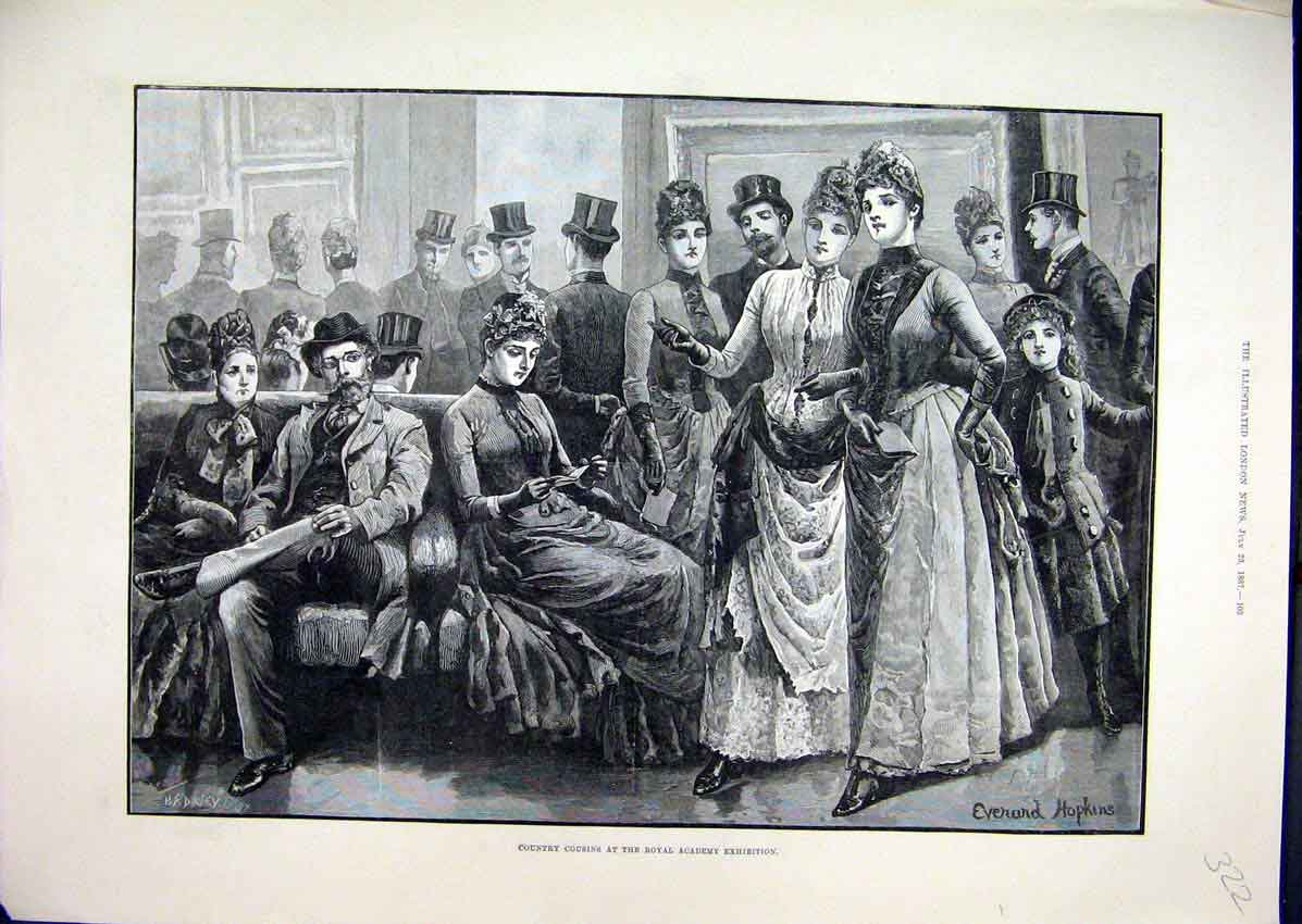 Print 1887 Country Cousins Royal Academy Exhibitions Dresses 22Mar1 Old Original
