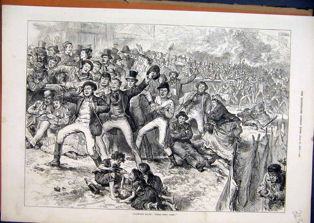 Print 1875 Goodwood Races People Celebrating Drinking 23Mar1 Old Original