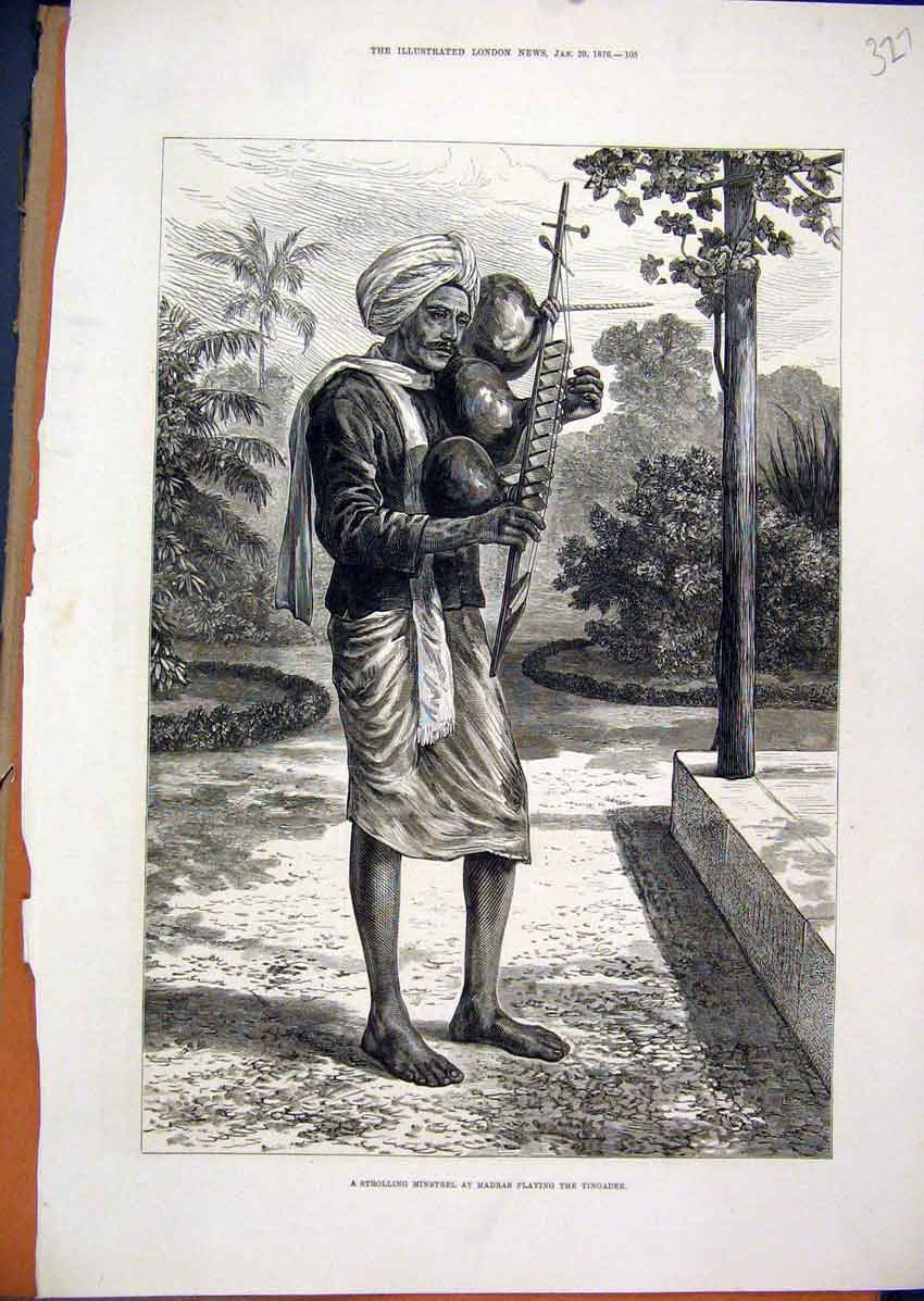 Print Strolling Minstrel Madras Playing Tingadee Music 1876 27Mar1 Old Original