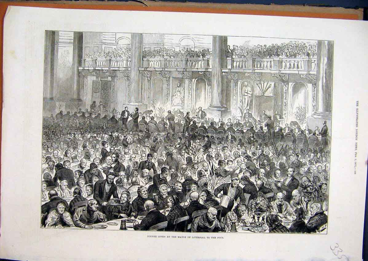 Print 1877 Dinner Given Mayor Liverpool Banquet People 35Mar1 Old Original