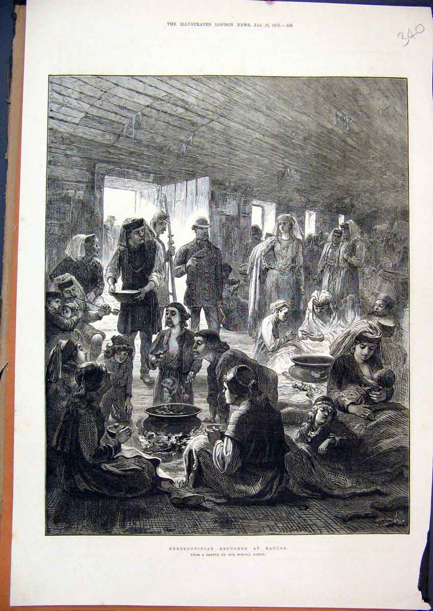 Print 1876 Herzegovinian Refugess Ragusa Dinner Time 40Mar1 Old Original