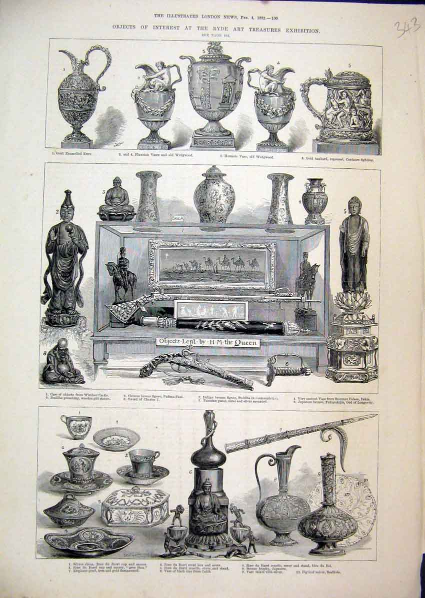 Print Ryde Art Treasures Exhibition 1882 Sword Bronze Figure 43Mar1 Old Original