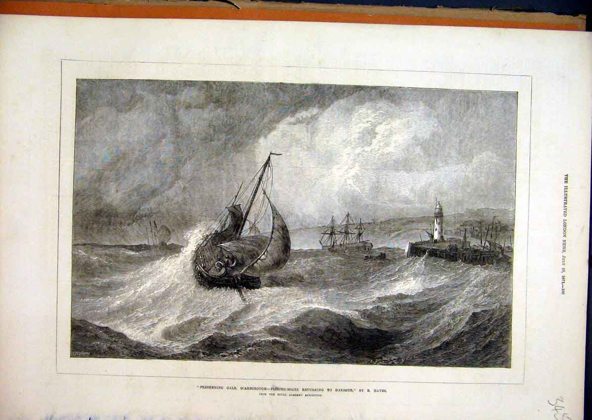 Print Scarborough 1871 Fishing Boats Returning Harbour Storm 45Mar1 Old Original