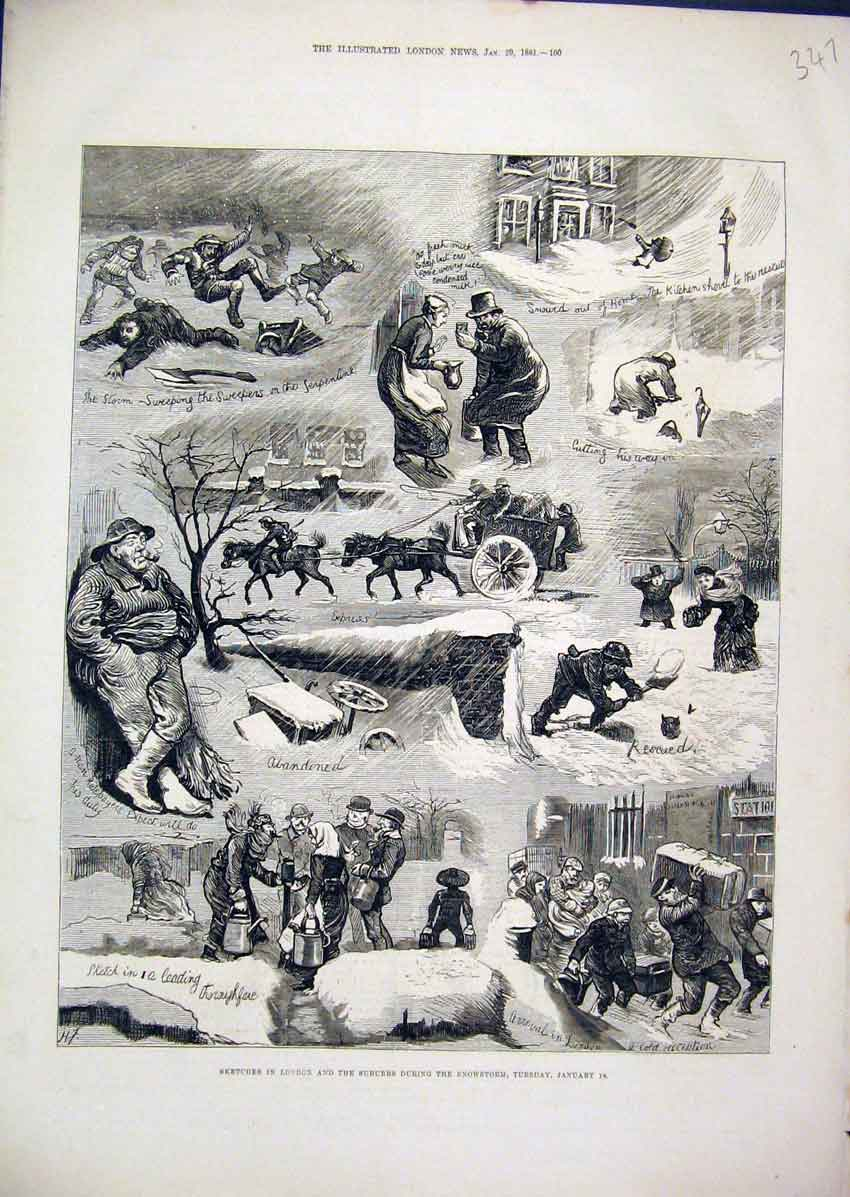 Print Sketches London 1881 Snowstorm Digging Comedy Horse 47Mar1 Old Original