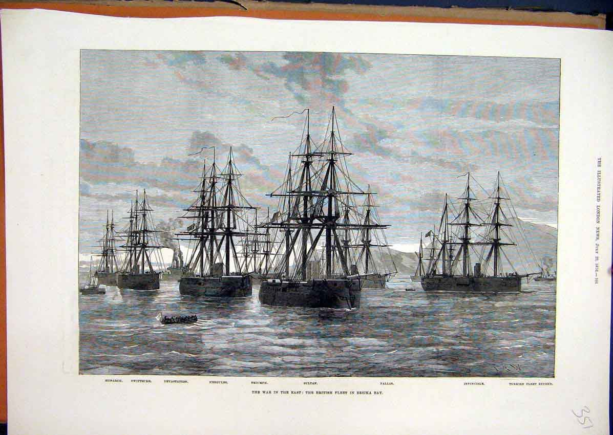 Print War East British Fleet Ships 1876 Sultan Invincible 51Mar1 Old Original