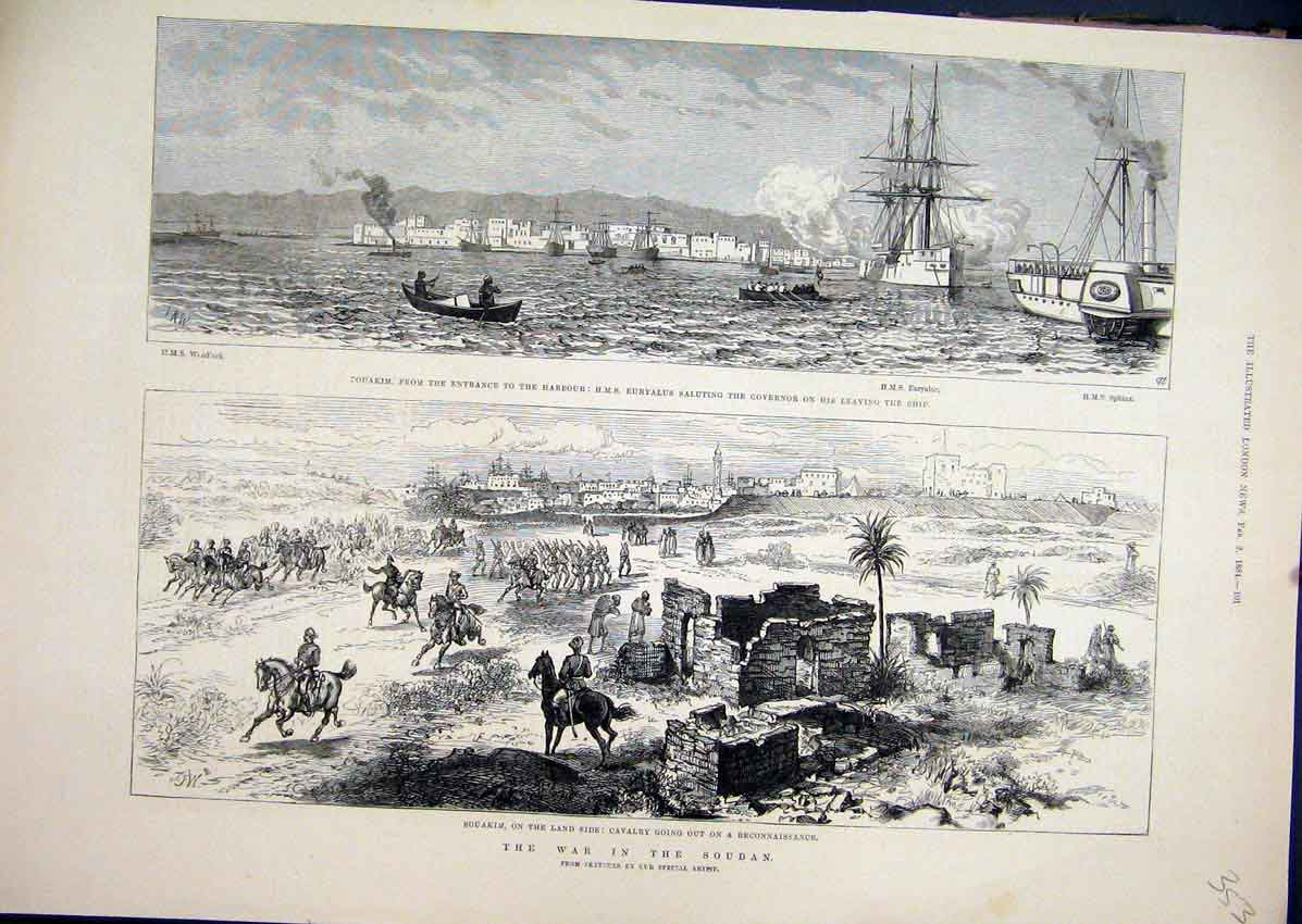 Print War Soudan 1884 Souakim Harbour Cavalry Euryalus 53Mar1 Old Original