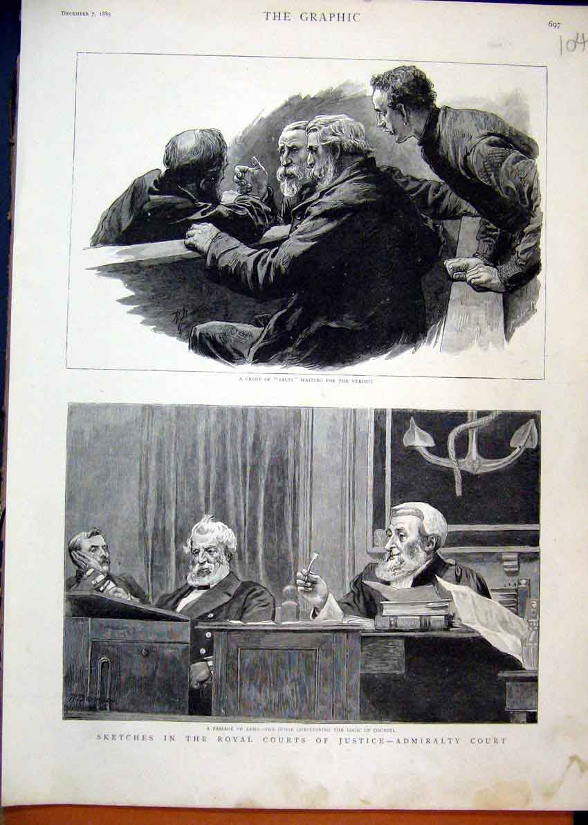Print 1889 Royal Court Justice Admirality Judge Counsel Salts 04Mar1 Old Original