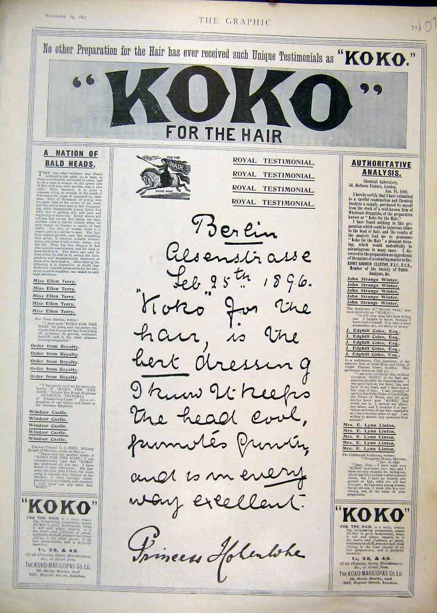 Print 1897 Advert Koko Marcicopas Hair Growth Tonic 07Mar1 Old Original