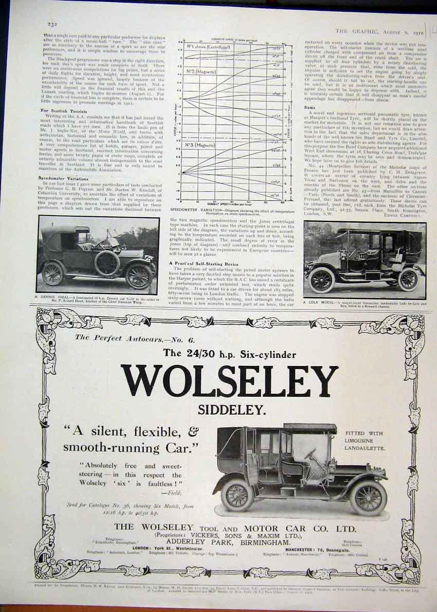 Print 1910 Advert Wolseley Siddeley Motor Car Limousine 14Mar1 Old Original