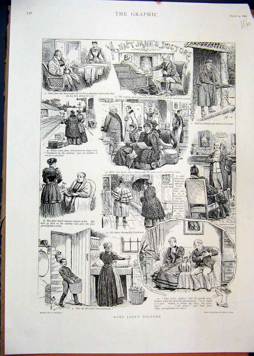 Print Aunt Janes Doctors 1894 Comedy Scenes Train Station 16Mar1 Old Original