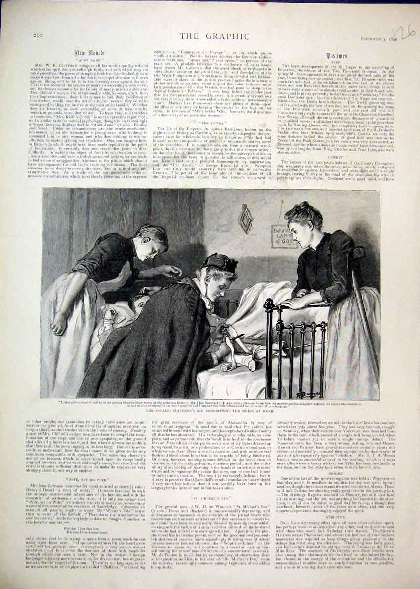 Print 1892 Invalid Children Nurse Work Bed Cutting Bandage 26Mar1 Old Original