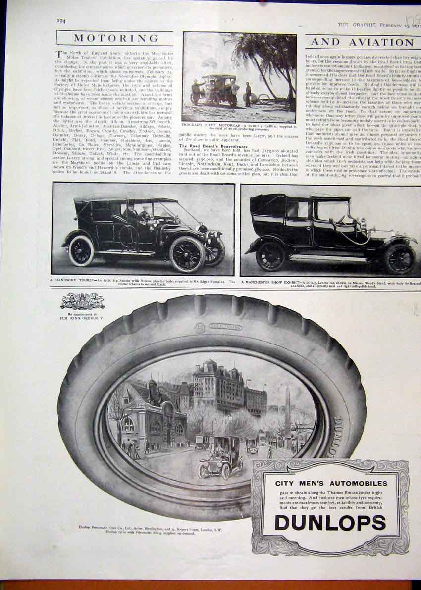 Print 1911 Advert Dunlop Pneumatic Tyre Austin Motor Car 28Mar1 Old Original