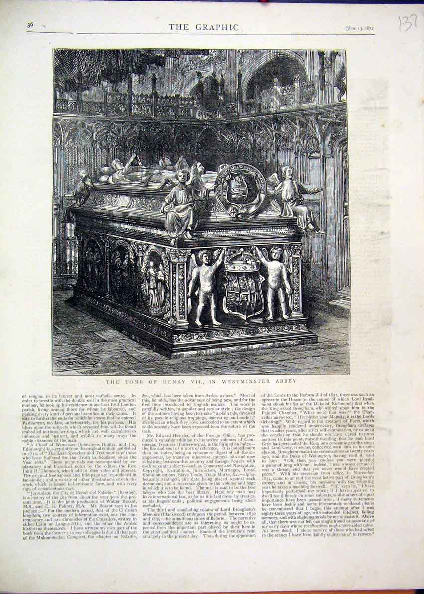Print 1872 Tomb Henry Vii Westminster Abbey 37Mar1 Old Original