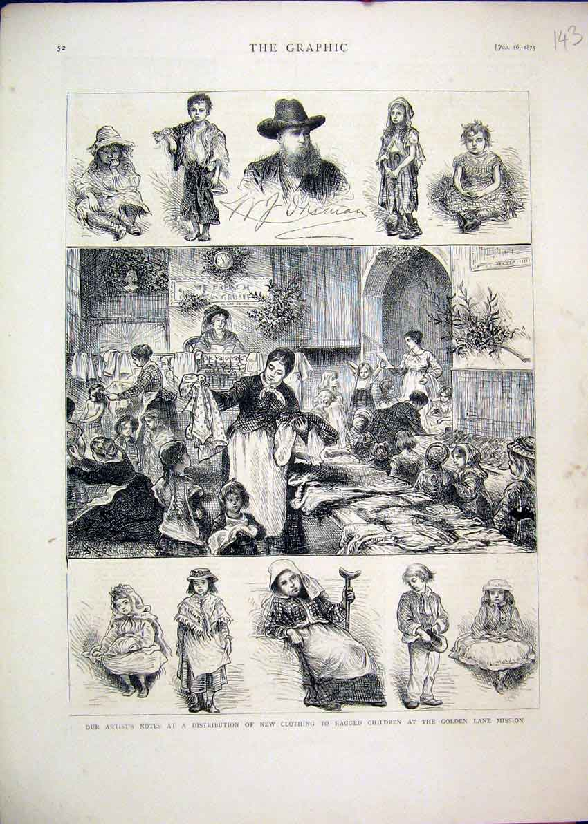 Print 1875 Clothing Ragged Children Golden Lane Mission 43Mar1 Old Original