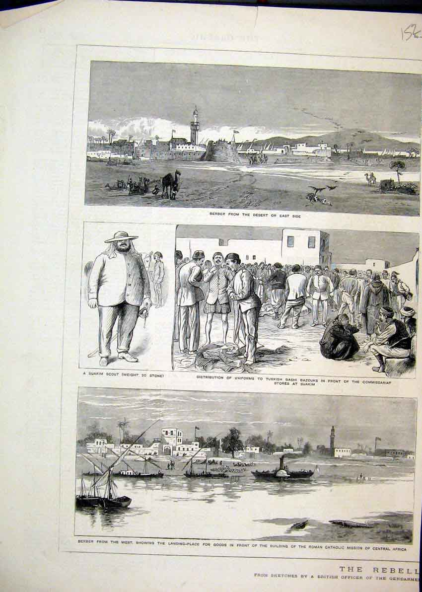 Print 1884 Berber Africa Desert Suakim Scout Catholic Mission 52Mar1 Old Original