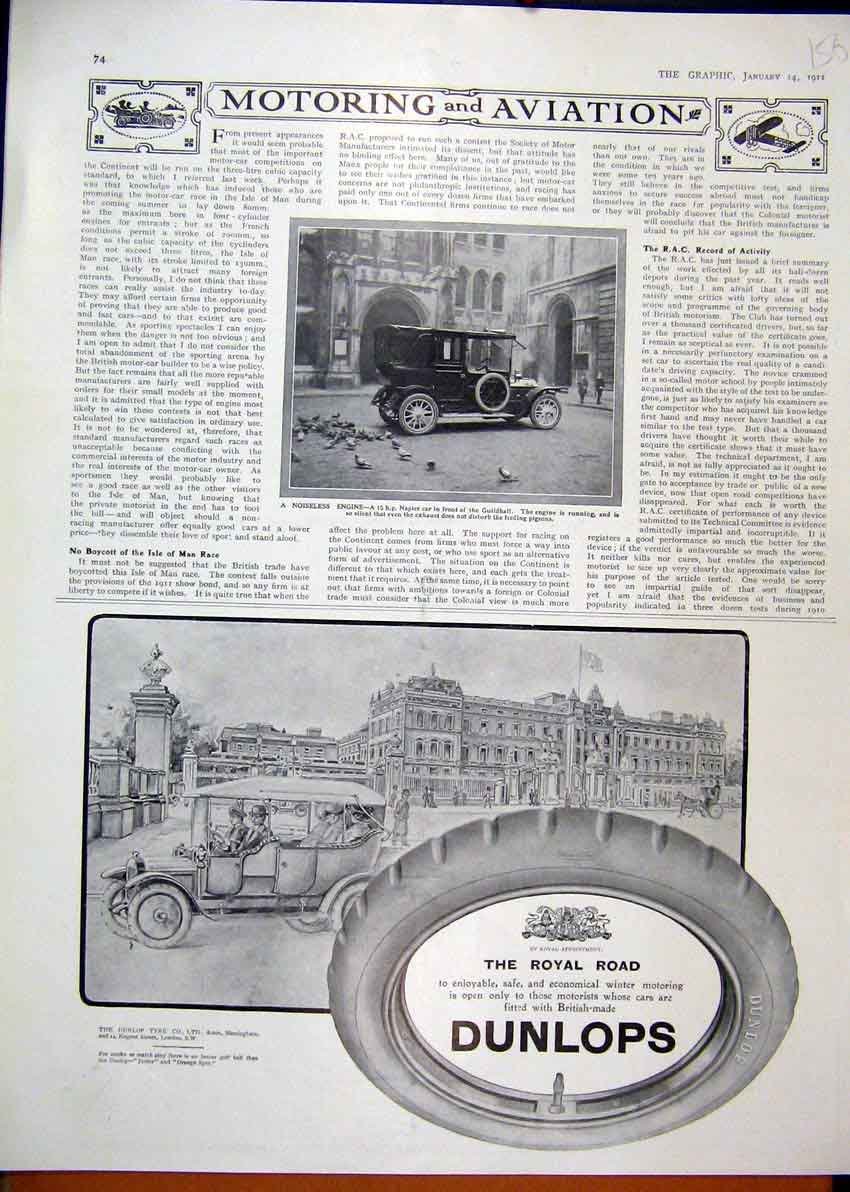 Print 1911 Advert Dunlop Tyres Napier Car Guildhall Motor 56Mar1 Old Original